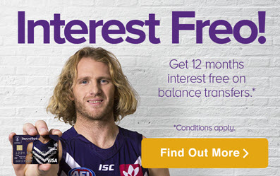 Get 12 months interest free with a Freo Dockers Visa Card
